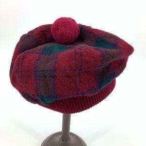 Vintage cap beanie hat plaid 100% wool Scotland